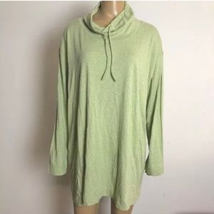 J Jill cowl neck seamed tunic top light green M